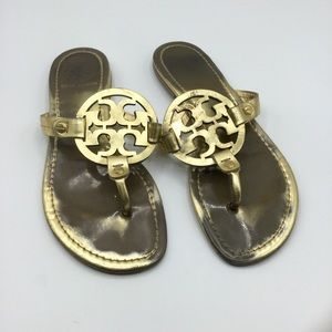 Tory Burch Gold Patent Leather Miller Sandals